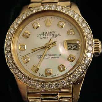 Ladies Rolex 18K Yellow Gold Datejust President White Diamond (SKU 7393376MT)
