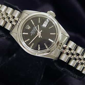 Ladies Rolex Stainless Steel Date Black  6916 (SKU 6605690MT)