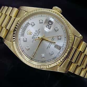 Mens Rolex 18K Gold Day-Date President Silver Diamond 18038 (SKU 5805971MT)