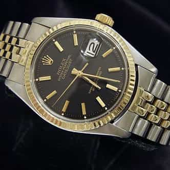 Mens Rolex Two-Tone 14K/SS Datejust Black  1601 (SKU 1788240BCMT)