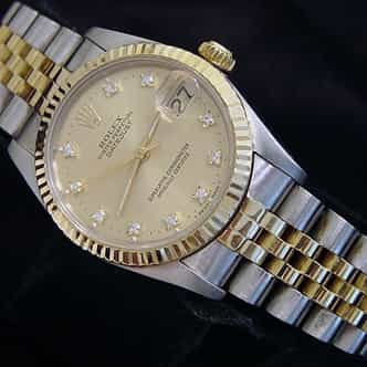 Mid Size Rolex Two-Tone 18K/SS Datejust Champagne Diamond 68273 (SKU L765621MT)