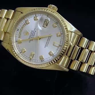 Mens Rolex 18K Gold Day-Date President Silver Diamond 18038 (SKU 6653042AMT)