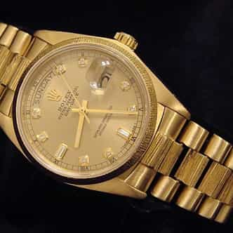 Mens Rolex 18K Gold Day-Date President Champagne Diamond 18078 (SKU 8631111MT)