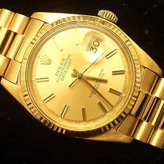 Mens Rolex 18K Yellow Gold Datejust Champagne  1601 (SKU 5371111MT)