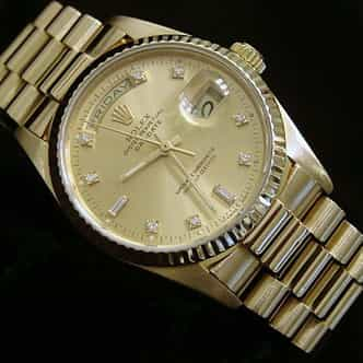Mens Rolex 18K Gold Day-Date President Champagne Diamond 18038 (SKU 8371111MT)