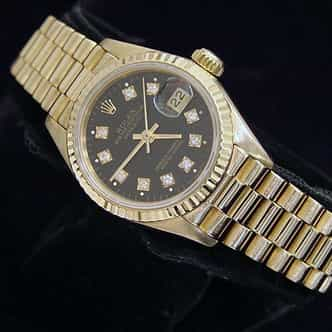 Ladies Rolex 18K Yellow Gold Datejust President Black Diamond 69178 (SKU R966759MT)