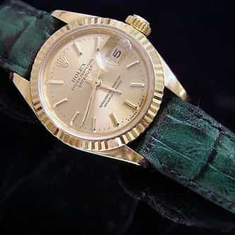 Ladies Rolex 18K Yellow Gold Datejust President Champagne  69178 (SKU 9832079MT)