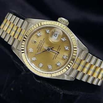 Ladies Rolex 18K Tridor Datejust President Champagne Diamond 69179B (SKU E256160MT)