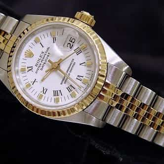 Ladies Rolex Two-Tone 18K/SS Datejust White Roman 69173 (SKU 9818255MT)