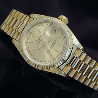 Ladies Rolex 18K Yellow Gold Datejust President Champagne  69178 (SKU L819333MT)