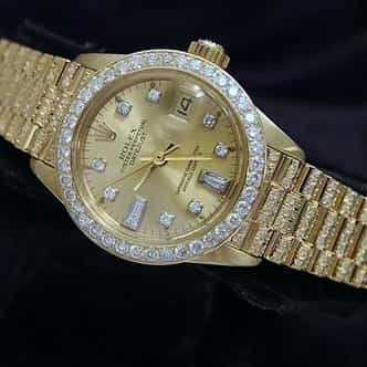 Ladies Rolex 18K Yellow Gold Datejust President Full Diamond Champagne (SKU 6741952MT)