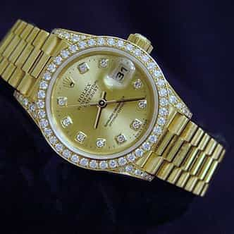 Ladies Rolex 18K Yellow Gold Datejust President Crown Collection Diamond 69158 (SKU T657096MTP)