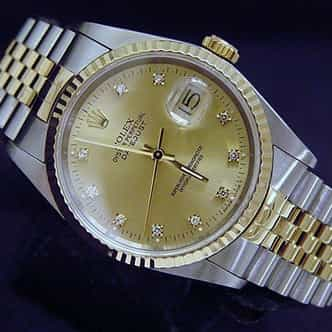 Mens Rolex Two-Tone 18K/SS Datejust Champagne Diamond 16233 (SKU L581532BCMT)