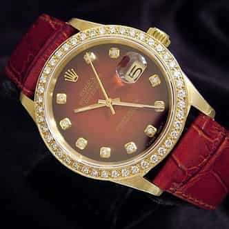 Pre Owned Mens Rolex Yellow Gold Datejust Diamond Red 16018 (SKU L836412MDM)