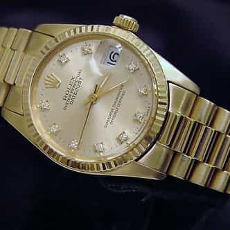 Pre Owned Mid-Size Rolex Yellow Gold Datejust President Champagne Diamond 6827 (SKU 5890081M)