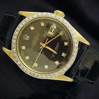 Mens Rolex 18K Yellow Gold Datejust Black Diamond 1601 (SKU 3016824MT)
