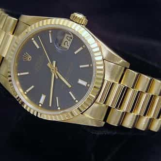 Mid Size Rolex 18K Yellow Gold Datejust President Blue  68278 (SKU 9325667MT)
