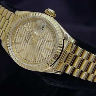 Ladies Rolex 18K Yellow Gold Datejust President Champagne  69178 (SKU R329875MT)