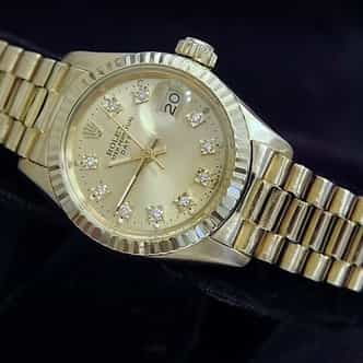Ladies Rolex 18K Yellow Gold President Champagne Diamond 6917 (SKU 6328509MT)