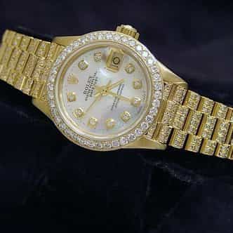 Ladies Rolex 18K Yellow Gold Datejust President Full Diamond White MOP (SKU 8964911MT)