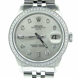 Mens Rolex Stainless Steel Date Silver Diamond (SKU 1965798MT)