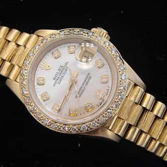 Ladies Rolex 18K Yellow Gold Datejust President White Diamond (SKU 69178DJMT)