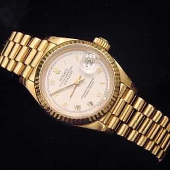 Ladies Rolex 18K Yellow Gold Datejust President White Roman 69178 (SKU 562DJMT)