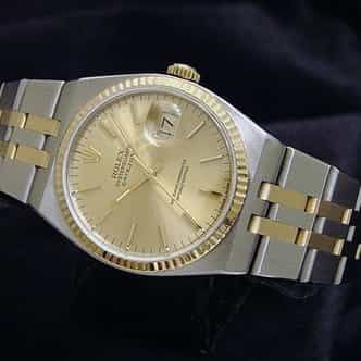 Pre Owned Mens Rolex Two-Tone Oysterquartz Datejust Gold Champagne 17013 (SKU W604077M)