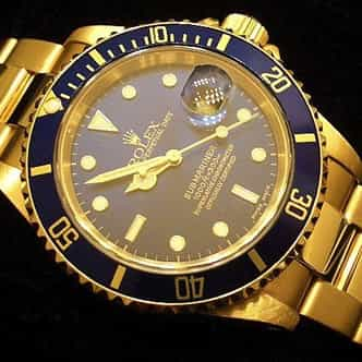 Mens Rolex 18K Yellow Gold Submariner Blue  16618 (SKU P271111NNMT)