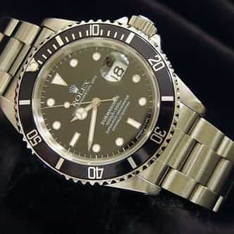 Mens Rolex Stainless Steel Submariner Black  16610 (SKU S312124NNMT)