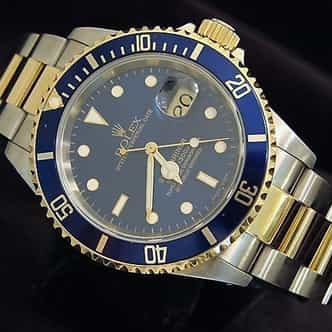 Mens Rolex Two-Tone 18K/SS Submariner Blue  16613 (SKU P867965MT)