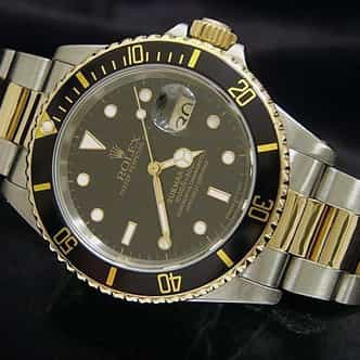 Mens Rolex Two-Tone 18K/SS Submariner Black  16613 (SKU N311752BCMT)