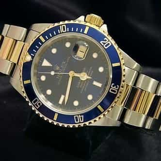 Mens Rolex Two-Tone 18K/SS Submariner Blue  16613 (SKU U122079BC)