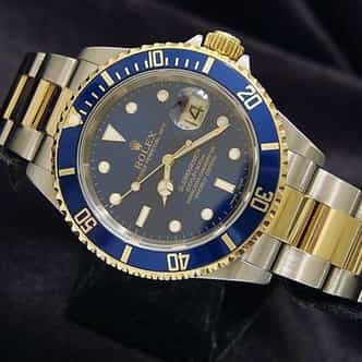 Mens Rolex Two-Tone 18K/SS Submariner Blue  16613T (SKU F316242MT)