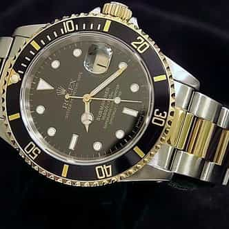 Mens Rolex Two-Tone 18K/SS Submariner Black  16613 (SKU S456330BCMT)