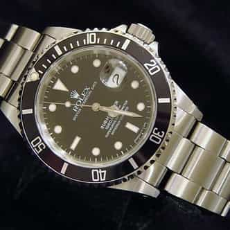Mens Rolex Stainless Steel Submariner Black  16610 (SKU U111556NNBCMT)
