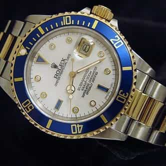 Mens Rolex Two-Tone 18K/SS Submariner White MOP Diamond Blue 16613 (SKU E446367AMT)