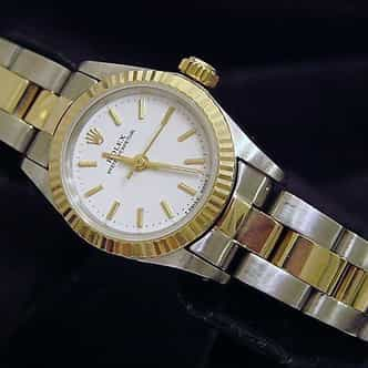 Ladies Rolex Two-Tone 18K/SS Oyster Perpetual White  67193 (SKU E178827CMT)