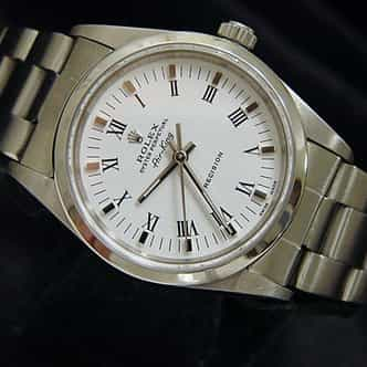 Mens Rolex Stainless Steel Air-King White Roman 14000 (SKU P821111CMT)
