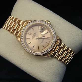 Ladies Rolex 18K Yellow Gold Datejust President Diamond  69178 (SKU 778MT)