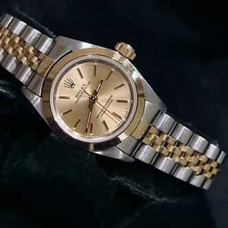 Ladies Rolex Two-Tone 18K/SS Oyster Perpetual Champagne  67183 (SKU T631699CMT)
