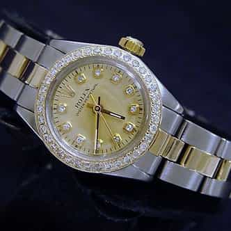 Ladies Rolex Two-Tone 14K/SS Oyster Perpetual Champagne Diamond (SKU 6570931CMT)