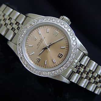 Ladies Rolex Stainless Steel Oyster Perpetual Salmon Diamond (SKU U518222BNNCMT)