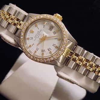 Ladies Rolex Two-Tone 14K/SS Date Diamond White Roman (SKU 6763236MT)
