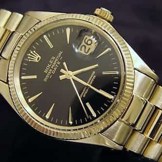 Pre Owned Mens Rolex Yellow Gold Date with a Black Dial 1503 (SKU 2658443B)