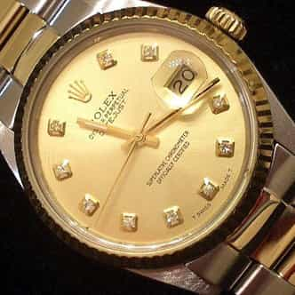 Mens Rolex Two-Tone 18K/SS Datejust Champagne Diamond 16013 (SKU 7091111MT)