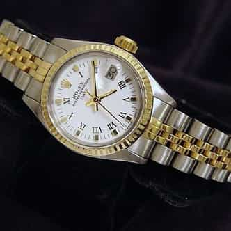 Ladies Rolex Two-Tone 14K/SS Date White Roman 6917 (SKU 5815288AMT)