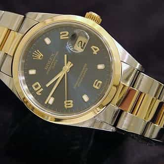 Mens Rolex Two-Tone Date with a Blue Arabic Dial 15203 (SKU P654306MT)