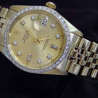 Pre Owned Mens Rolex Yellow Gold Diamond Date with a Gold/Champagne Dial (SKU 1598044)