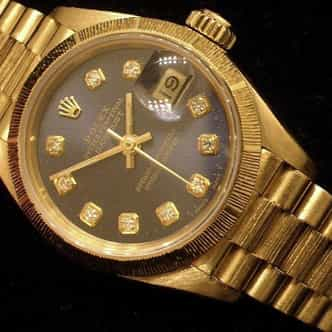 Ladies Rolex 18K Yellow Gold Datejust President Blue Diamond 69278 (SKU 68278401MT)